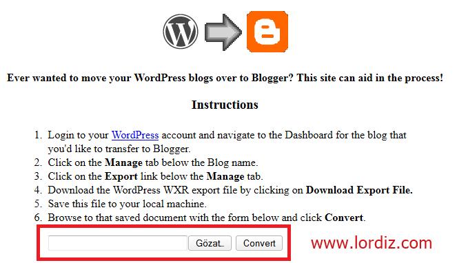Wordpress.com Blogunu, Blogspot Bloguna Aktarma - web-master