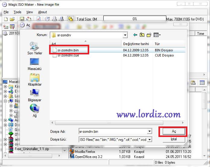 49911011 - Bin Uzantılı Dosyayı CD'ye Yazmadan Açmak