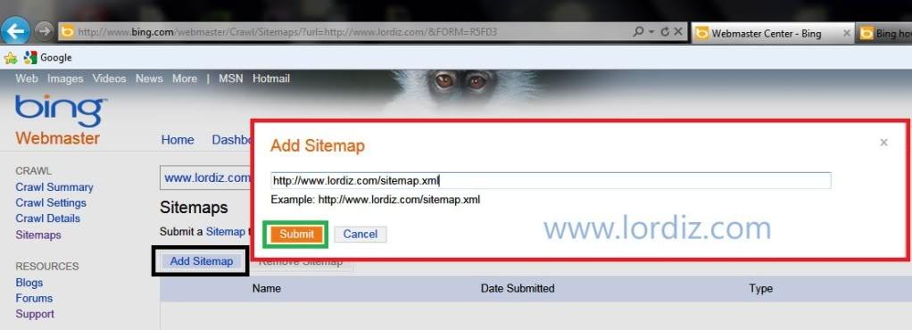 50212719 - Bing.com Arama Motoruna Site ve Site Haritası Ekleme