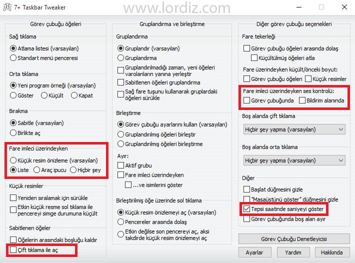 Windows 10 için 7+ Taskbar Tweaker - windows-destek