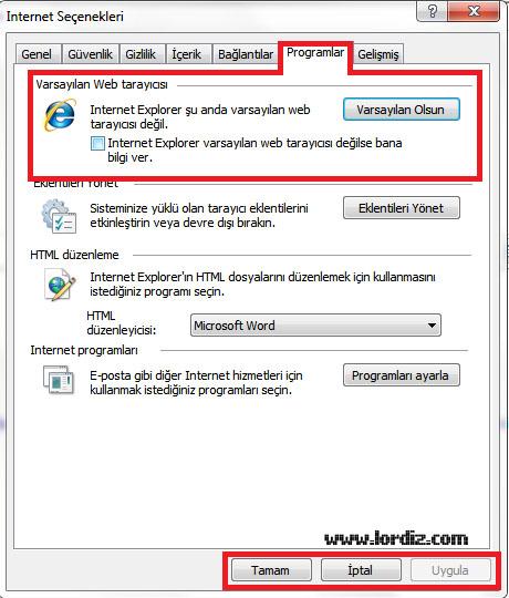 İnternet Explorer'ı Varsayılan İnternet Tarayıcısı Yapmak - windows-destek