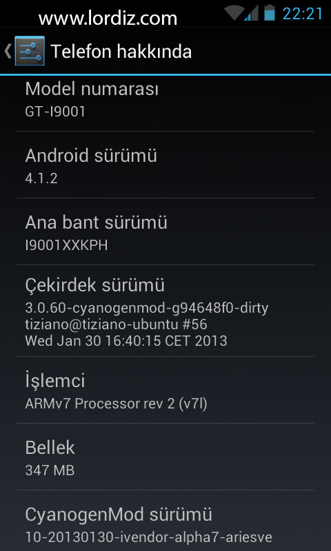 Samsung Galaxy S Plus i9001 İçin Android 4.1.2 Jelly Bean