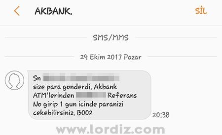 akbank smsi2 - Akbank Mobil Uygulamasından Atm'ye Para Gönderme