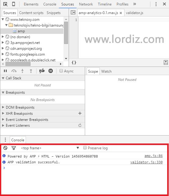 amp console zpsu6bjxfcd - Wordpress için Google AMP Nedir? Wordpress Amp Eklentisi!