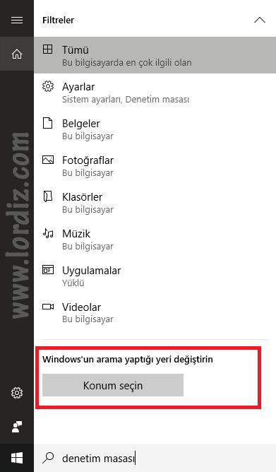 arama konum degistirme - Windows Arama ve Arama Sonuçlarını Özelleştirme