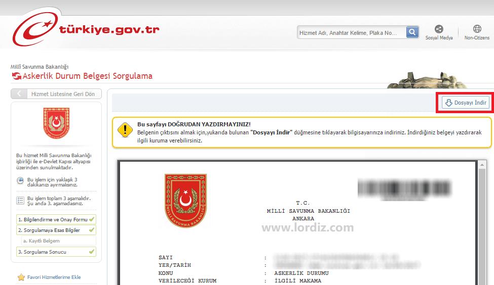 Askerlik Durum Belgesi Sorgulama (e-Devlet Turkiye.gov.tr) - internet-siteleri
