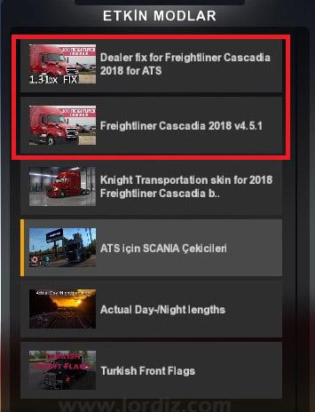 ats etkin modlar - American Truck Simulator için Freightliner Cascadia 2018 Modu