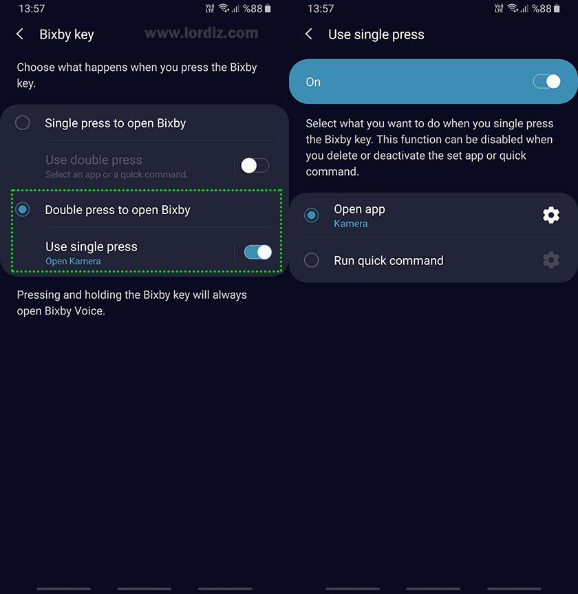 bixby tusunu degistirmex2 - Samsung Galaxy Telefonlarda Bixby Tuşunun İşlevini Değiştirme