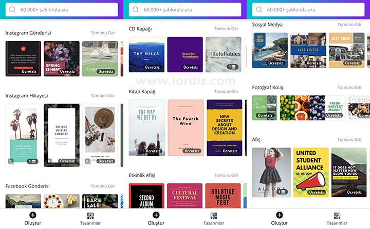 """canva ucretsiz tasarimlar3 - Bloglar ve Sosyal Medya Hesapları için Ücretsiz Tasarım Aracı """"Canva"""""""