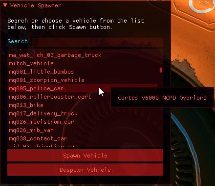 cyberpunk2077 araba cagirma modu - Cyberpunk 2077 için Vehicle Spawner (Araç Çağırma) Modu!