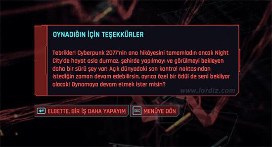 cyberpunk2077 final mesaji - Cyberpunk 2077'de Ana Hikaye Bittikten Sonra Açık Dünyaya Dönmek?