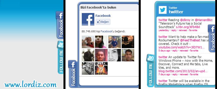 """Sağdan Açılır """"Facebook Beğen"""", """"Twitter Takip Et"""" Kutusu - web-master"""