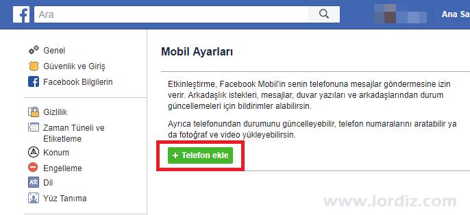 Facebook için Sms ile Şifre Sıfırlamayı Etkinleştirme - internet-siteleri