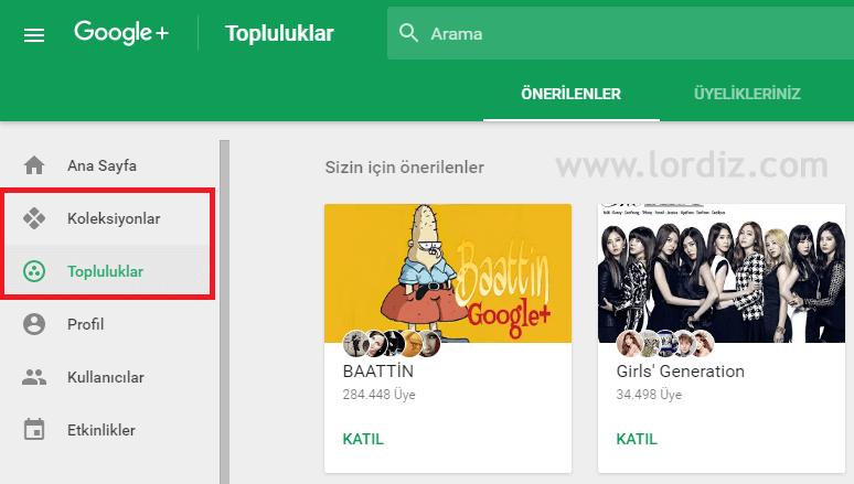 Google+'da Koleksiyon ve Topluluk Sayfası Oluşturma - internet-siteleri