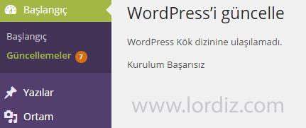 """hata zps8cda26cf - Wordpress Güncellemesinde """"Kök dizinine ulaşılamadı"""" Hatası"""