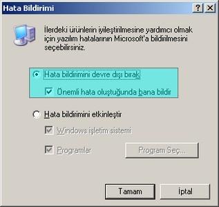 """""""Hata Raporu Gönder"""" Uyarısını Tamamen Kapatmak - windows-destek"""