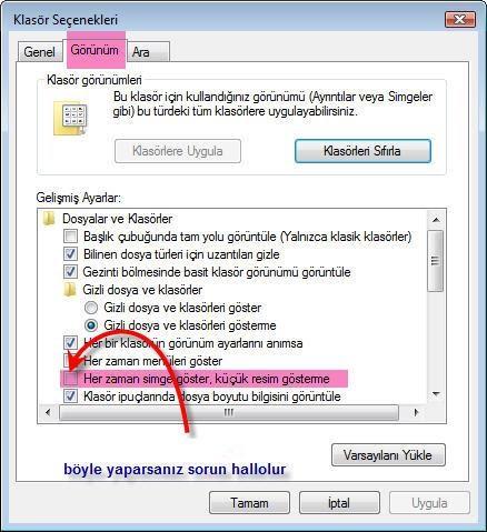 Klasörler'de Küçük Resim Önizlemesini Aktif Etme - windows-destek