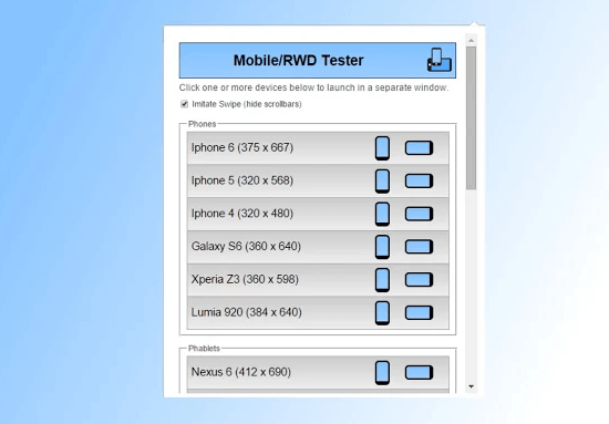 Chrome için Mobil Tasarım Test Eklentisi - web-master