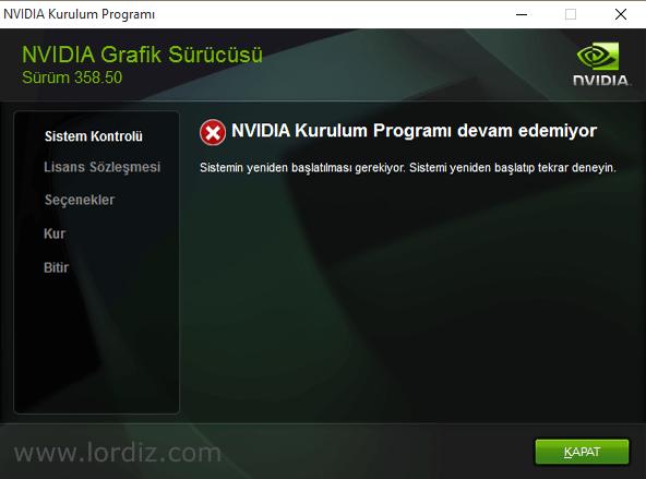 Windows 10, Nvidia Driver Yükleme Sorunu ve Çözümü