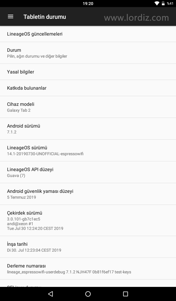 Samsung Galaxy Tab2 7.0 P3110 İçin Lineage OS 14.1 (Android 7.1) - google-play