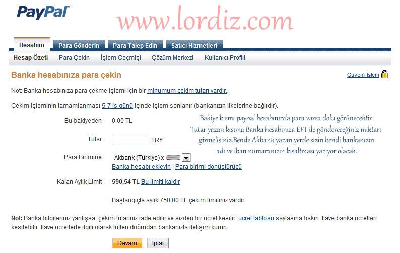 Paypal Hesabından Türkiye'deki Bankalara Para Transferi - internet-siteleri