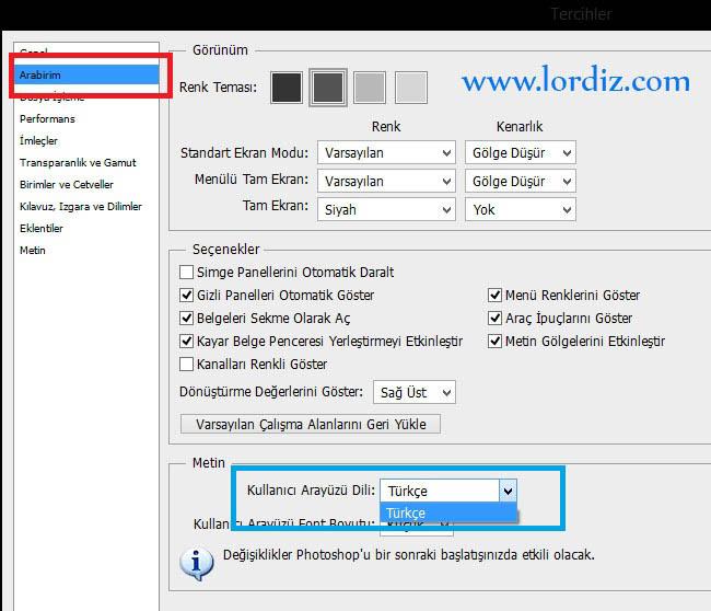 Türkçe Adobe Photoshop'un Dilini İngilizce Yapmak - windows-destek