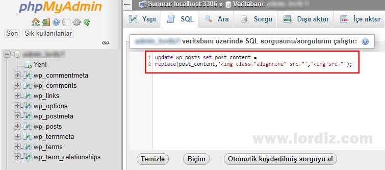Wordpress Metinlerini phpMyAdmin'den SQL Komutu ile Değiştirmek! - web-master