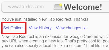 set options zpscc27d14e - Google Chrome Yeni Sekme Sayfasını Değiştirme