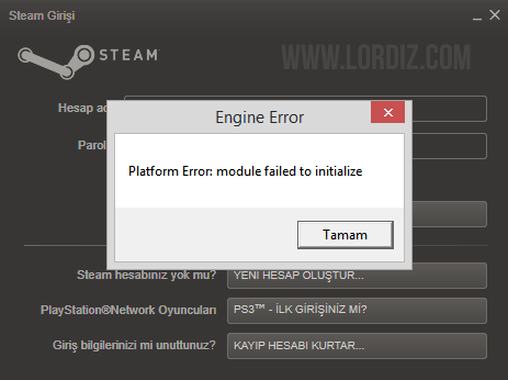 "steam error zps6a1e2f81 - ""Platform Error: module failed to initialize"" Hatası ve Çözümü"