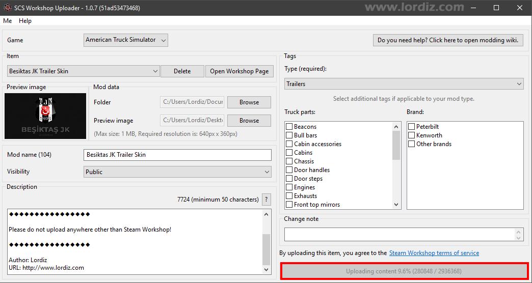 steam workshop scs workshop uploader2 - SCS Workshop Uploader ile Steam'e ATS ve ETS 2 Modları Yükleme!
