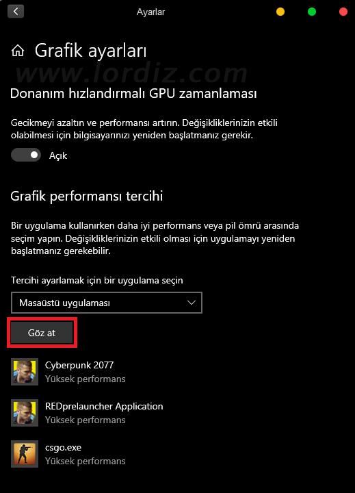 varsayilan ekran karti - Windows 10'da Oyun ve Uygulamanın Kullanacağı Ekran Kartını Seçmek!