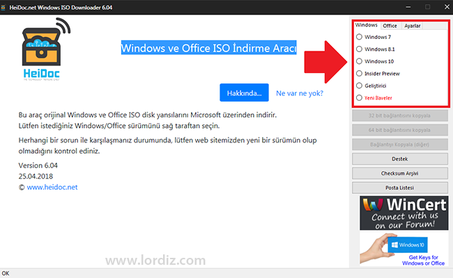 """Yasal Windows ve Office İso İndirme Yazılımı """"HeiDoc"""" - windows-destek, download-yazilari"""