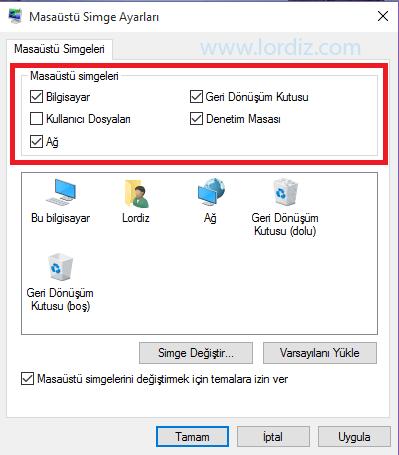 Windows 10'da Bilgisayarım Simgesini Masaüstüne Getirme - windows-destek