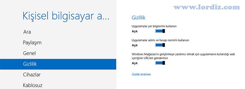 Windows 8'de Gizlilik Ayarlarını Düzenleme - windows-destek