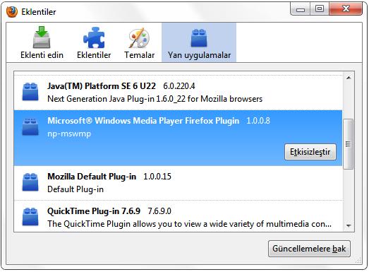 Firefox Tarayıcısı için Windows Media Player Eklentisi