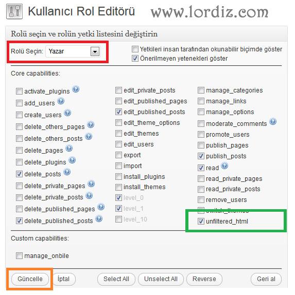 Wordpress Blog Yazarlarıda (Youtube) Embed Kod Ekleyebilsin - web-master