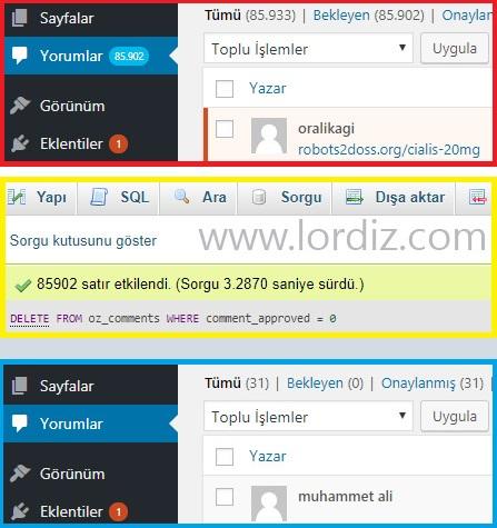 wordpress sql yorum silme - Wordpress'de Tek Komutla Tüm Spam Yorumları Silme