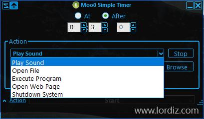 "zaman ayarli yazilim1 - Ücretsiz Zaman Programlı Aksiyon Yazılımı ""Moo0 Simple Timer"""